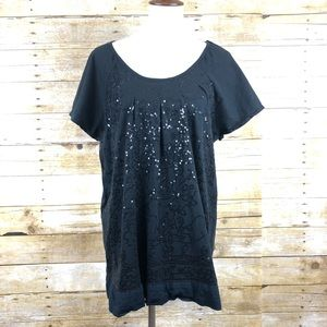 Charter Club Black Sequence Short Sleeve Top 1X